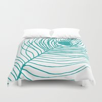 peacock feather Duvet Covers featuring Peacock Feather by AleDan