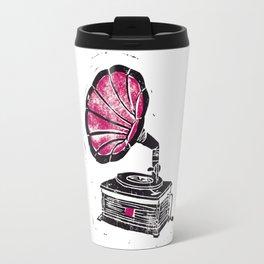 Linocut Gramophone Travel Mug