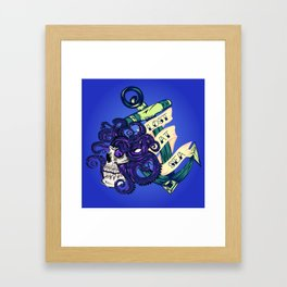 Lost at Sea Octopus, Skull, and Anchor Framed Art Print
