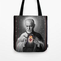 freud Tote Bags featuring Freud by Michelle Wenz