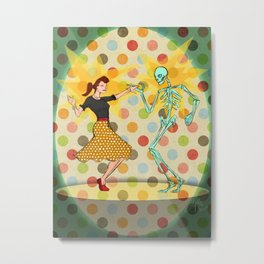 Skeleton Sock Hop! Metal Print