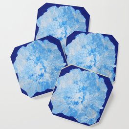 Abstract Flower in Blue Surround Coaster