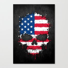 Flag of The United States on a Chaotic Splatter Skull Canvas Print