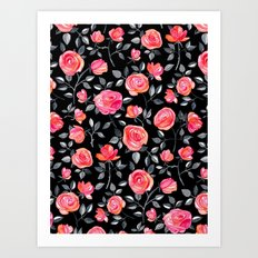 Roses on Black - a watercolor floral pattern Art Print