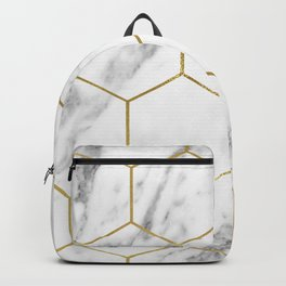 Gold marble hexagon pattern Backpack