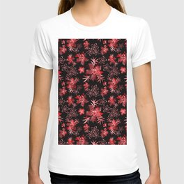 Fishnet red flowers on a black background. T-shirt