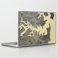 sydney Laptop & iPad Skins featuring Sydney map by Map Map Maps