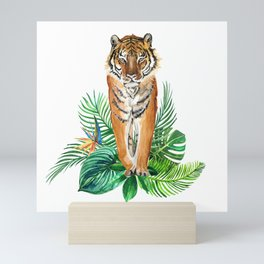watercolor illustration of a tropical laves and Tiger Mini Art Print
