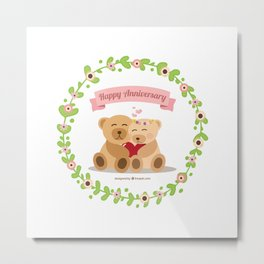 Lovely teddy with floral wreath for anniversary Metal Print