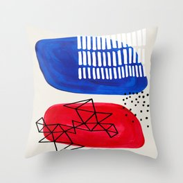Fun Abstract Minimalist Mid Century Modern Colorful Shapes Red Blue Color Harmony Watercolor Bubbles Throw Pillow