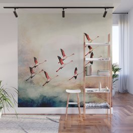 Flock of Flamingos Wall Mural