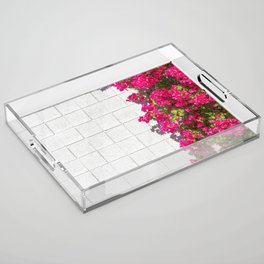 Bougainvilleas and White Brick Wall in Palm Springs, California Acrylic Tray