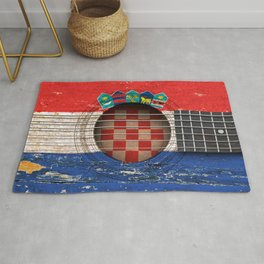 Old Vintage Acoustic Guitar with Croatian Flag Rug
