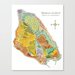 Mackinac Island Illustrated Map Canvas Print