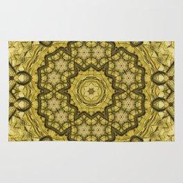 abstract massed wattle mandala in yellow Rug