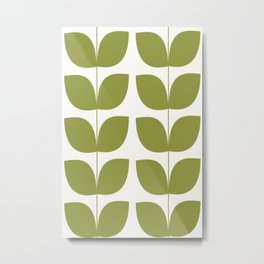 Mid Century Modern Leaves Green #society6 #buyart Metal Print