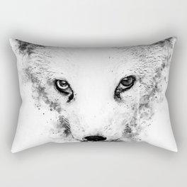 arctic fox bicolor eyes ws bw Rectangular Pillow