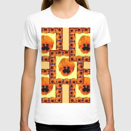 DECO ORANGE PANSIES ON YELLOW COLOR T-shirt