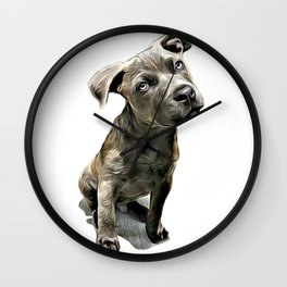 Pitbull Puppy Wall Clock