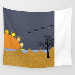 Magpies in sunset Wall Tapestry