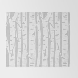 Woodcut Birches Grey Throw Blanket