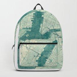 New York Map Blue Vintage Backpack