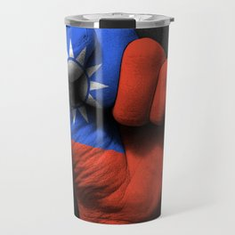 Taiwanese Flag on a Raised Clenched Fist Travel Mug