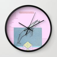 the whale Wall Clocks featuring WHALE by MAR AMADOR