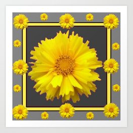YELLOW & GREY  ART COREOPSIS FLOWERS Art Print