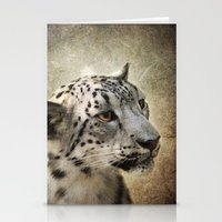 snow leopard Stationery Cards featuring Snow Leopard by Jai Johnson