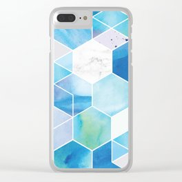 Blue watercolor hexagons Clear iPhone Case