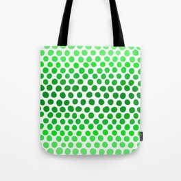 Apple Green and White Dots Ombre Tote Bag