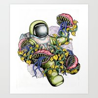 spaceman Art Prints featuring SPACEMAN by • PASXALY •