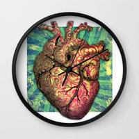 anatomical heart Wall Clocks featuring Anatomical heART by Li9z
