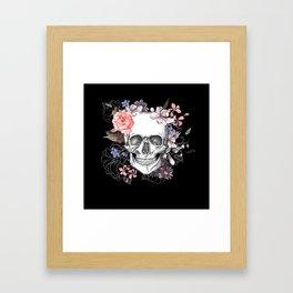 Dia Los Muertos, Floral Skull Framed Art Print