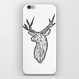 Black Line Faceted Stag Trophy Head iPhone Skin