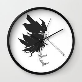 Grim reaper attack - medieval ghost - gothic skull - night demon - black and white Wall Clock