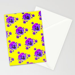PURPLE PANSY GARDEN YELLOW ABSTRACT ART Stationery Cards