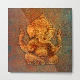 Lord Ganesh On a Distress Stone Background Metal Print