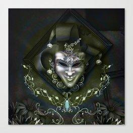 Venician mask with floral elements Canvas Print