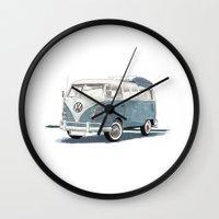 volkswagen Wall Clocks featuring Volkswagen Transporter by Rik Reimert
