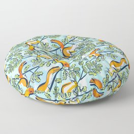 Oak Tree with Squirrels in Summer Floor Pillow