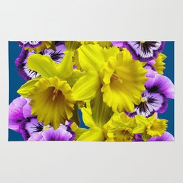 YELLOW SPRING DAFFODILS & LILAC PANSIES BLUE COLOR Rug