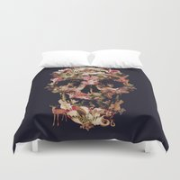 skull Duvet Covers featuring Jungle Skull by Ali GULEC
