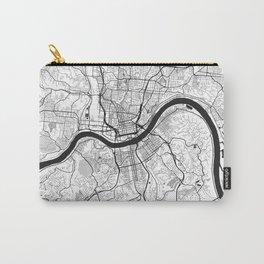 Cincinnati Map Gray Carry-All Pouch
