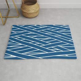 Classic blue and white tangled stripes pattern Rug
