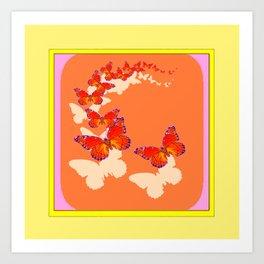 Monarch Butterflies Migration in Cumin Color & Yellow Art Art Print