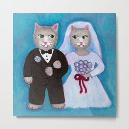 Bride and Groom Cats Metal Print