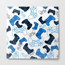 Video Games Blue on White Metal Print