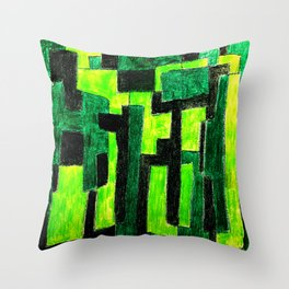 Three Green Puzzle Throw Pillow